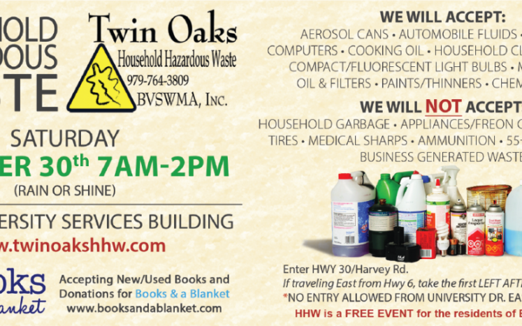 It's time to start preparing for the Fall Household Hazardous Waste Clean up. The event will take place Saturday October 30th 7A